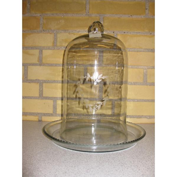 glasklokke med fad